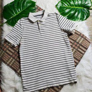 Old Navy Mens White Black Striped Polo Shirt